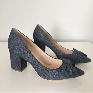 Kate Spade Denim Bow Block Heels